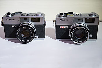 Canonet QL19 and QL17 G-III, side by side.