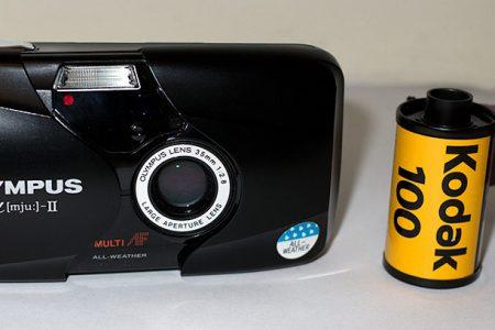 Olympus mju ii Stylus Epic with roll of Kodak Gold 100
