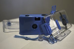 Waterproof point and shoot film camera with case removed.